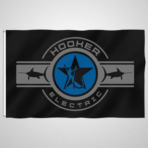 Hooker Electric Black Logo Boat Flag
