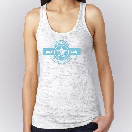 Ladies White Jersey Burnout Racerback Tank