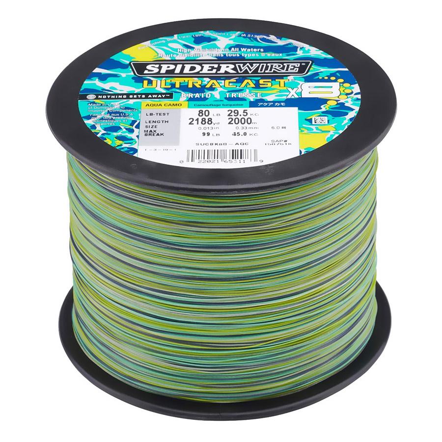 Spiderwire Ultracast 80lb 2188yd Aqua Camo Braid
