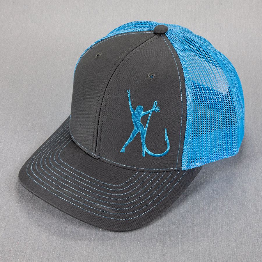 Trucker Mesh Charcoal Teal Hat 2034