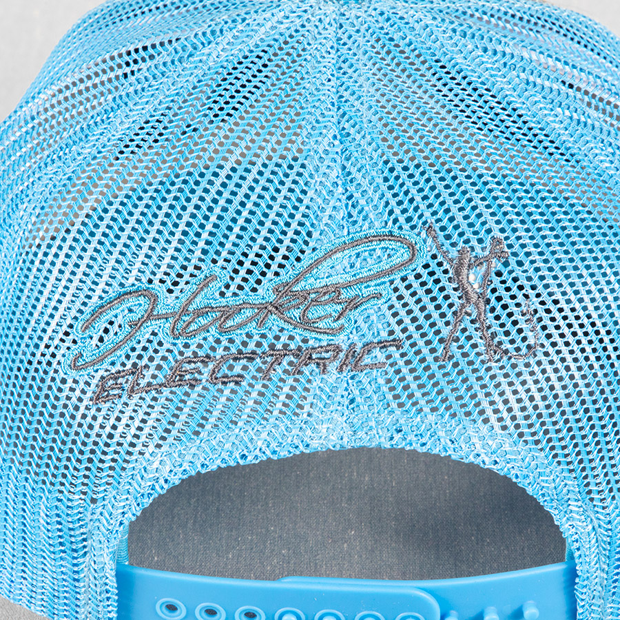 Trucker Mesh Charcoal Teal Hat Back 2034