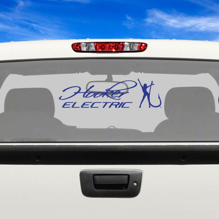 Hooker Electric Blue Adhesive Vinyl Decal