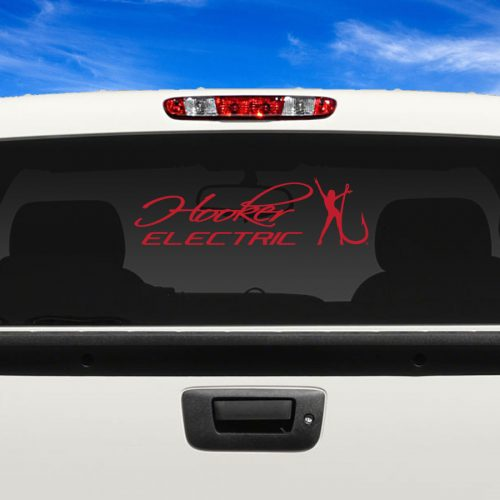 Hooker Electric Red Adhesive Vinyl Decal