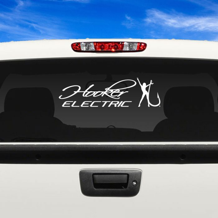 Hooker Electric White Adhesive Vinyl Decal